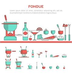 set of fondue vector image