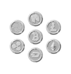 set of realistic silver coins flat style isolated vector image