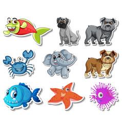 Set stickers with sea animals and dogs cartoon vector