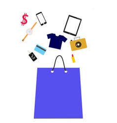 shopping bag with purchase vector image vector image