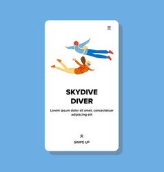 Skydive divers flying down with parachute vector