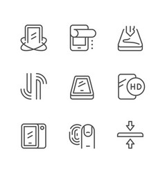 Smartphone protection line outline icon vector