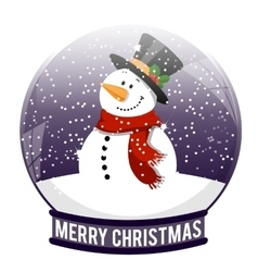 snow ball with snowman vector image