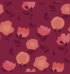 soft minimal style floral motif in coral colors vector image