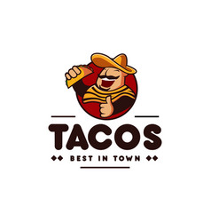 sombrero hat mexican holding tacos mexican vector image