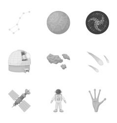 Space set icons in monochrome style Big vector