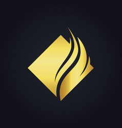 square abstract wave gold logo vector image