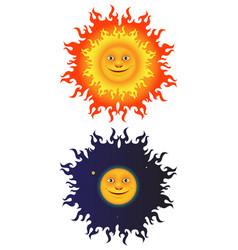 sun and moon set vector image