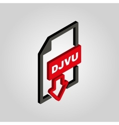 The DJVU icon3D isometric file format symbol vector