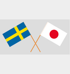 The swedish and japanese flags vector