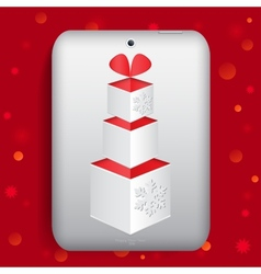 The tablet with gift box vector image