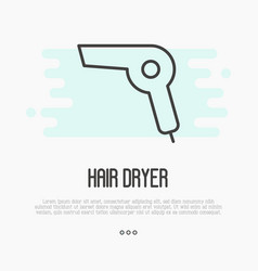 thin line icon hairdryer element logo vector image