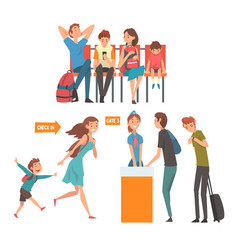 travelling people in airport set passengers vector image