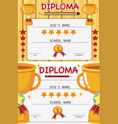 two diploma templates with trophy vector image