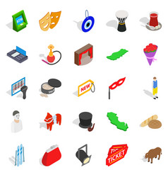 western culture icons set isometric style vector image