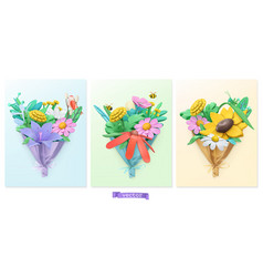 wildflowers bouquet plasticine art 3d icon set vector image