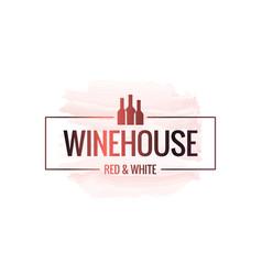 Wine bottle watercolor logo house border vector