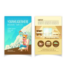winter resort cartoon brochure template vector image
