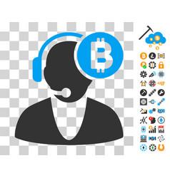bitcoin operator icon with bonus vector image vector image
