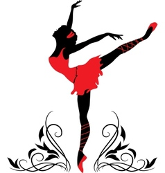 dancing woman silhouette vector image vector image