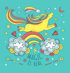 magic background poster with unicorn and vector image vector image