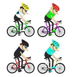 man cyclists group pattern vector image vector image