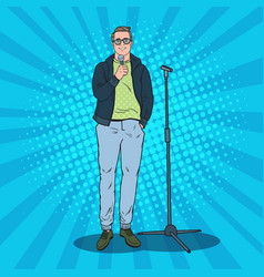 pop art handsome man with microphone male singer vector image