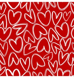 Red seamless with doodle hearts vector image vector image