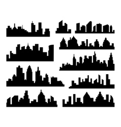 Set of Cities Silhouette black City vector image
