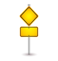 yellow road sign with shadow vector image vector image