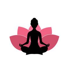 yoga woman silhouette pink lotus flower logo vector image vector image
