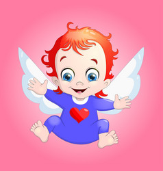 a baby cupid with a heart cartoon vector image