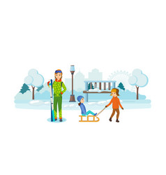 children playing in park girl holding a ski set vector image vector image