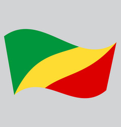 flag of the congo republic waving gray background vector image