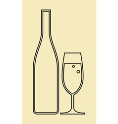 Glass of champagne and bottle vector image vector image