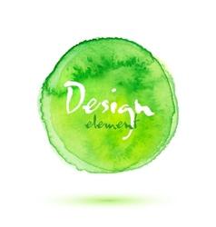 Green watercolor painted textured circle vector image