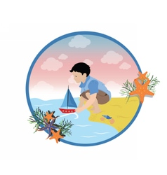 Happy Boy playing with a ship vector image