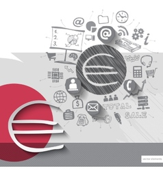 Paper and hand drawn euro emblem with icons vector image vector image