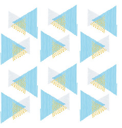 pattern triangles blue scribble and points gold vector image vector image