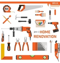 Set of construction tools on a white background vector image vector image