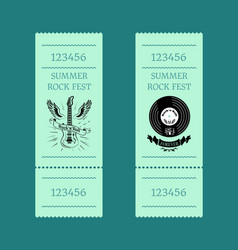 summer rock fest set of tickets on blue-green vector image vector image