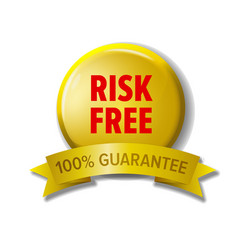 yellow button with words risk free vector image vector image