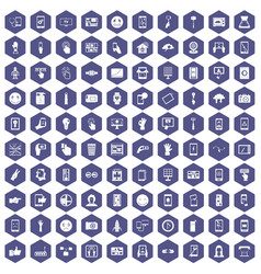 100 touch screen icons hexagon purple vector