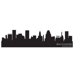 baltimore maryland skyline detailed silhouette vector image