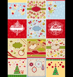 set of Christmas cards and design elements vector image