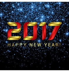 2017 Happy New Year greeting card with blue stars vector image vector image