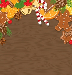 Christmas Background on Wooden Board vector image vector image