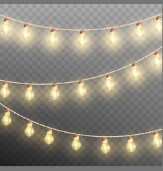 christmas garland lights isolated on transparent vector image vector image