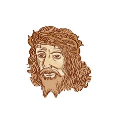 Jesus Christ Face Crown Thorns Etching vector image
