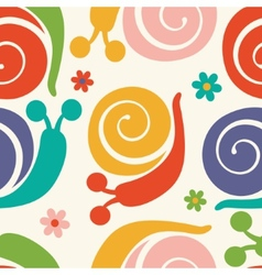 Pattern with colorful snails and flowers vector image vector image